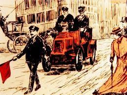 1865 году в Англии приняли закон ограничения скорости для всех самодвижущихся повозок, включая ранние автомобили